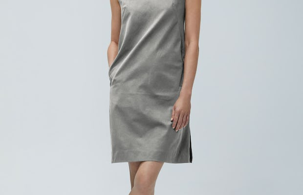 Womens Grey Heather Kinetic A-line Dress - on model