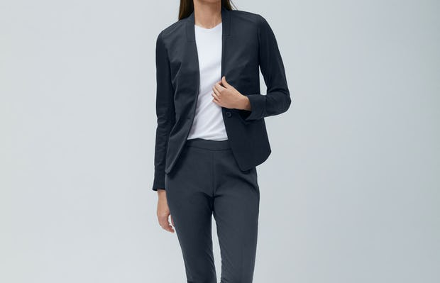 Womens Navy Kinetic Blazer and White Luxe Touch Tank and Navy Kinetic Skinny Pants - on model