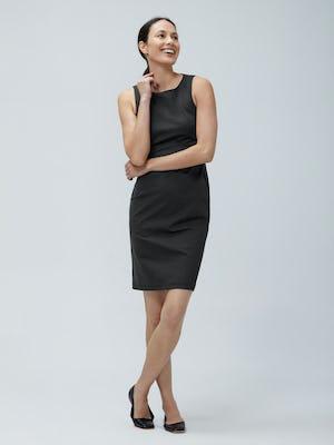 Womens Black Kinetic Sheath Dress - on model