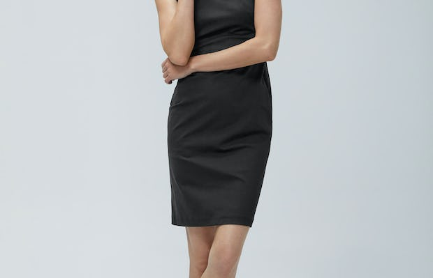 Womens Black Kinetic Sheath Dress - on model