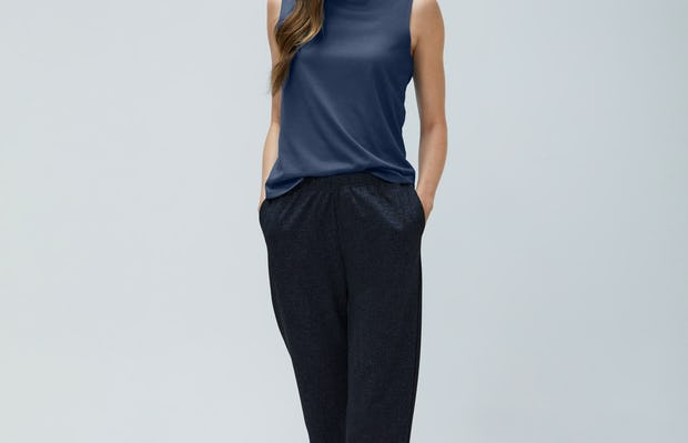 Women's Navy Tweed Fusion Pull on pant and Navy Composite Merino Tank on model