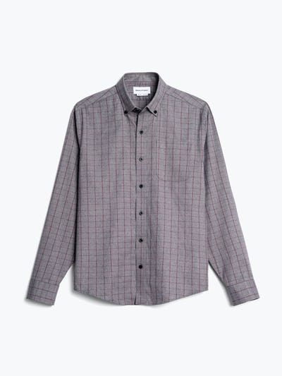 mens' grey heather merlot aero button down flat shot of front