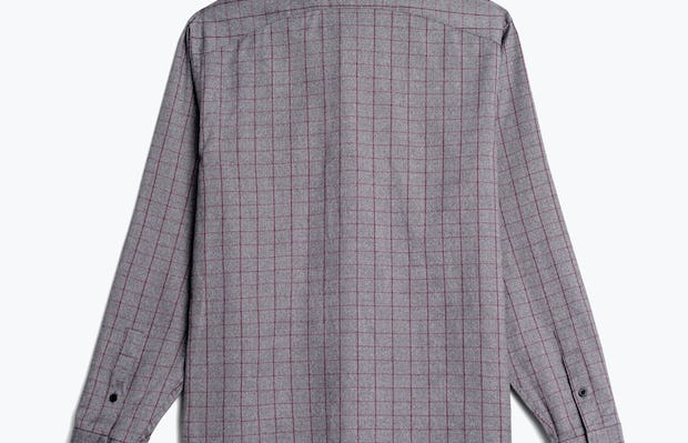 mens' grey heather merlot aero button down flat shot of back