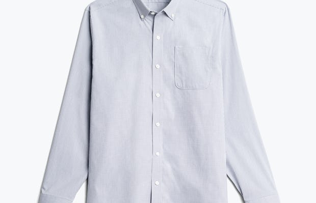 Men's grey heather houndstooth aero button down flat shot of front