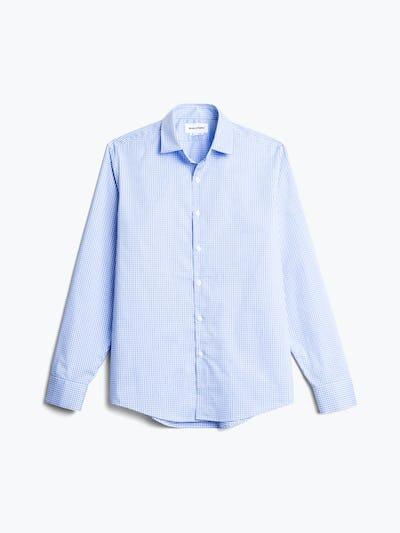 men's sky blue grid aero dress shirt flat shot of front