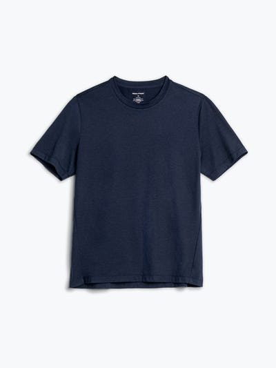 men's navy composite merino tee flat shot of front