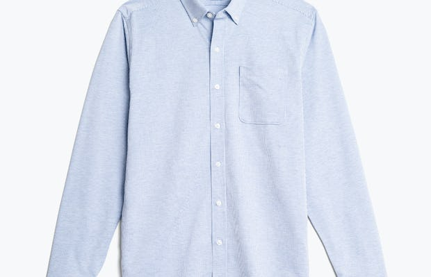 men's blue heather stripe hybrid button down flat shot of front