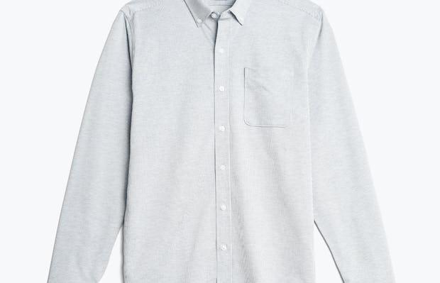 men's grey heather stripe hybrid button down flat shot of front