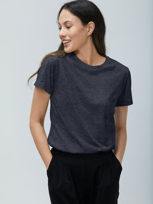 Women's Navy Composite Merino Tee on model