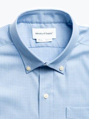 men's chambray mini grid aero button down zoomed shot of collar
