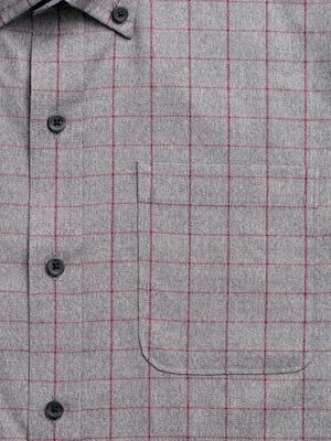 mens' grey heather merlot aero button down zoomed shot of chest pocket