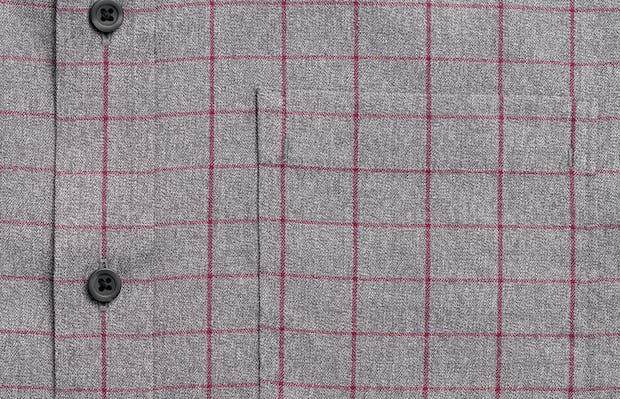 mens' grey heather merlot aero button down zoomed shot of chest pocket