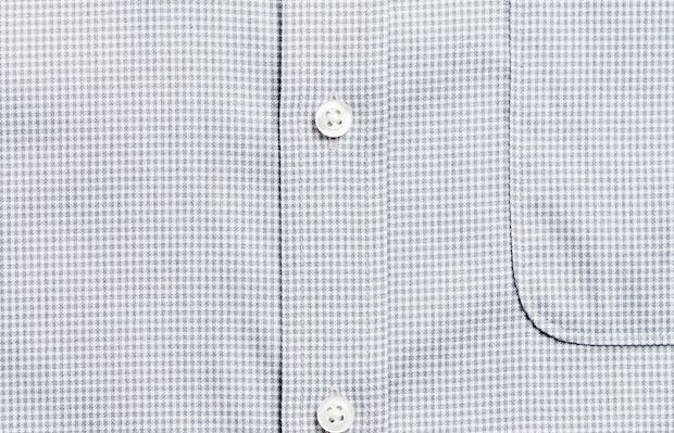 Men's grey heather houndstooth aero button down zoomed shot of placket