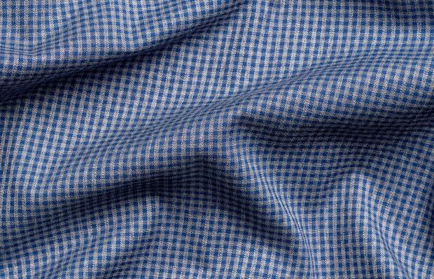 Men's indigo heather gingham aero button down wavy fabric