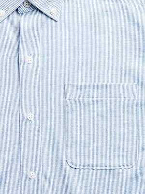 men's blue heather stripe hybrid button down zoomed shot of chest pocket