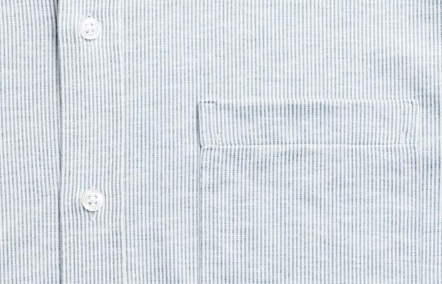 men's grey heather stripe hybrid button down zoomed shot of chest pocket