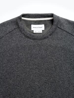 men's charcoal heather hybrid fleece crewneck sweatshirt zoomed shot of collar