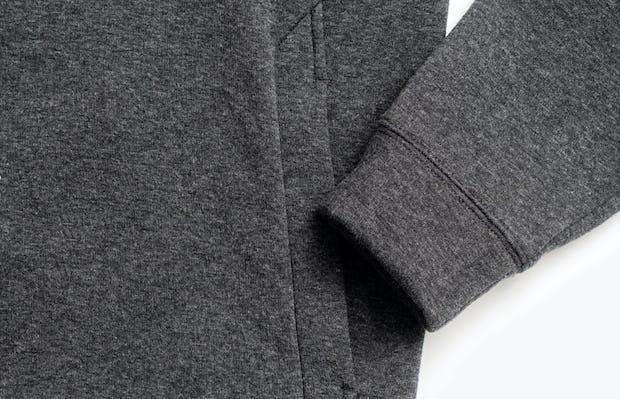 men's charcoal heather hybrid fleece crewneck sweatshirt zoomed shot of cuff and kangaroo pocket