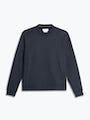 men's navy hybrid fleece crewneck sweatshirt flat shot of front