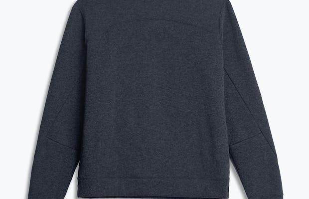 men's navy hybrid fleece crewneck sweatshirt flat shot of back