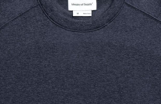 men's navy hybrid fleece crewneck sweatshirt zoomed shot of collar