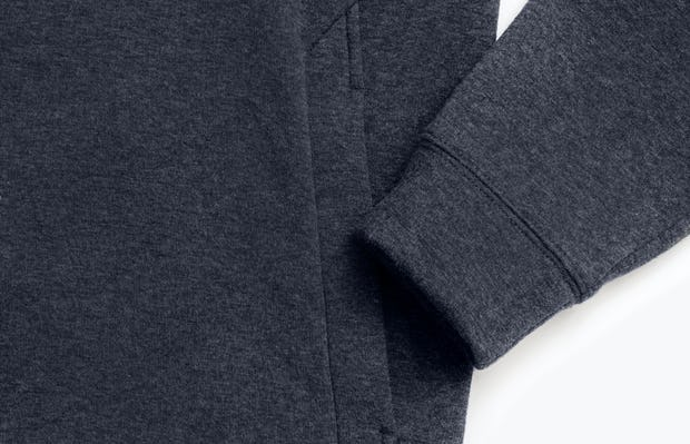men's navy hybrid fleece crewneck sweatshirt zoomed shot of cuff and kangaroo pocket