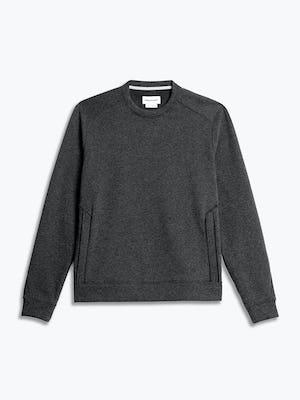 men's charcoal heather hybrid fleece crewneck sweatshirt flat shot of front