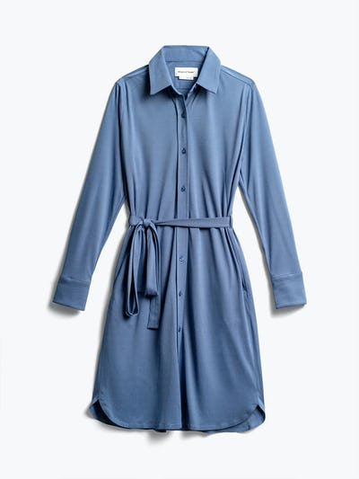Womens Ocean Blue Apollo Shirt Dress - Front View