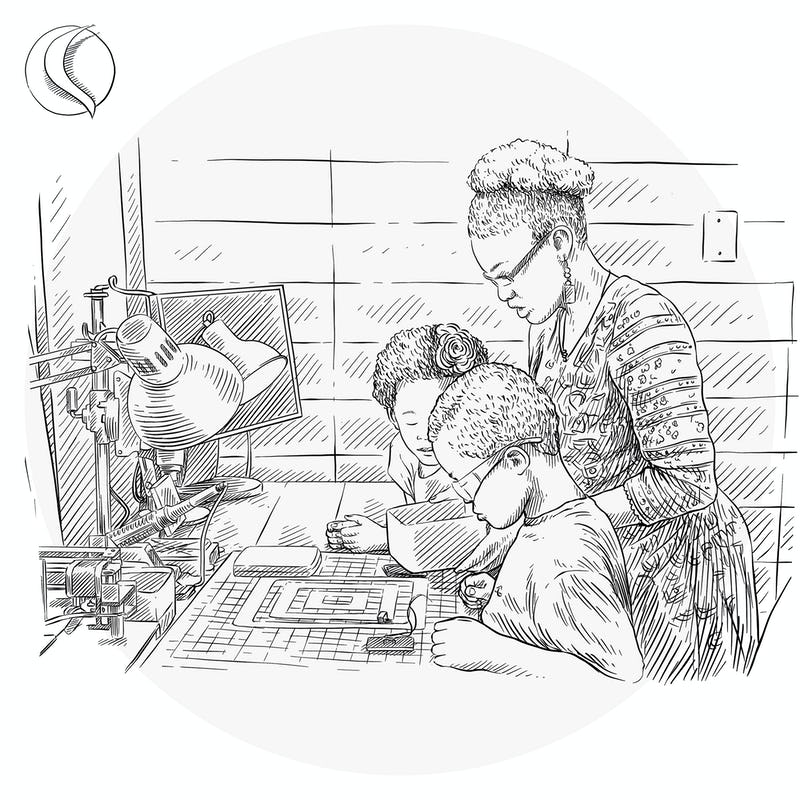 Illustration of woman and children working at a desk