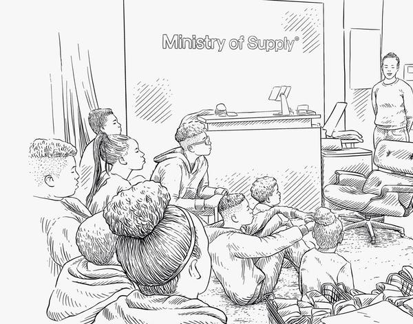 Illustration of a man speaking to a room full of students