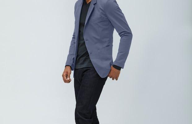 Men's Indigo Heather Kinetic Blazer and Chroma Denim Pants on Model