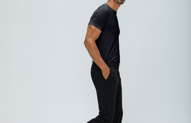 Men's Black Atlas Crew Neck Tee and Black Velocity Pants on Model