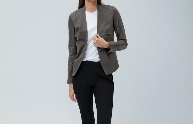 Women's Kinetic Blazer Charcoal Heather and Women's Kinetic Skinny Pant Black on Model