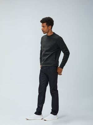 Men's Charcoal Heather Hybrid Fleece Crewneck Sweatshirt and Men's Black Chroma Denim on model with hand in pocket