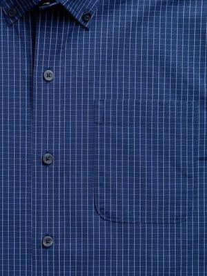 men's indigo jaspe grid aero button down zoomed shot of chest pocket
