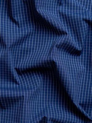 men's indigo jaspe grid aero button down wavy fabric
