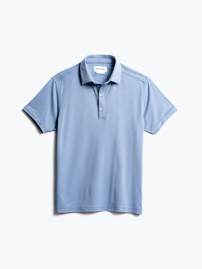 men's deep sky blue oxford apollo polo front