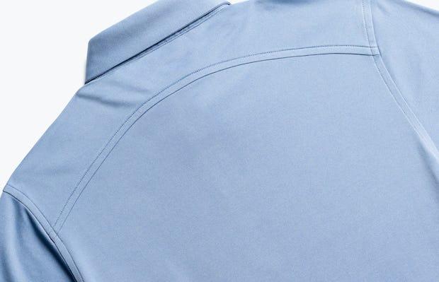 close up of men's deep sky blue oxford apollo polo back