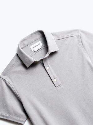 zoomed shot of men's grey white heather apollo polo