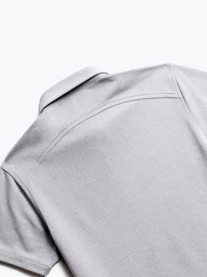 zoomed shot of men's grey white heather apollo polo back