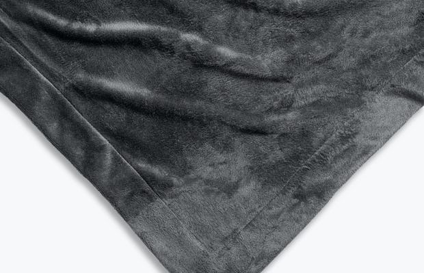 charcoal heather hybrid everywhere blanket velour side up zoomed shot of corner