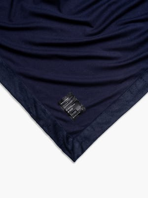 navy hybrid everywhere blanket plush side shot of corner and tag