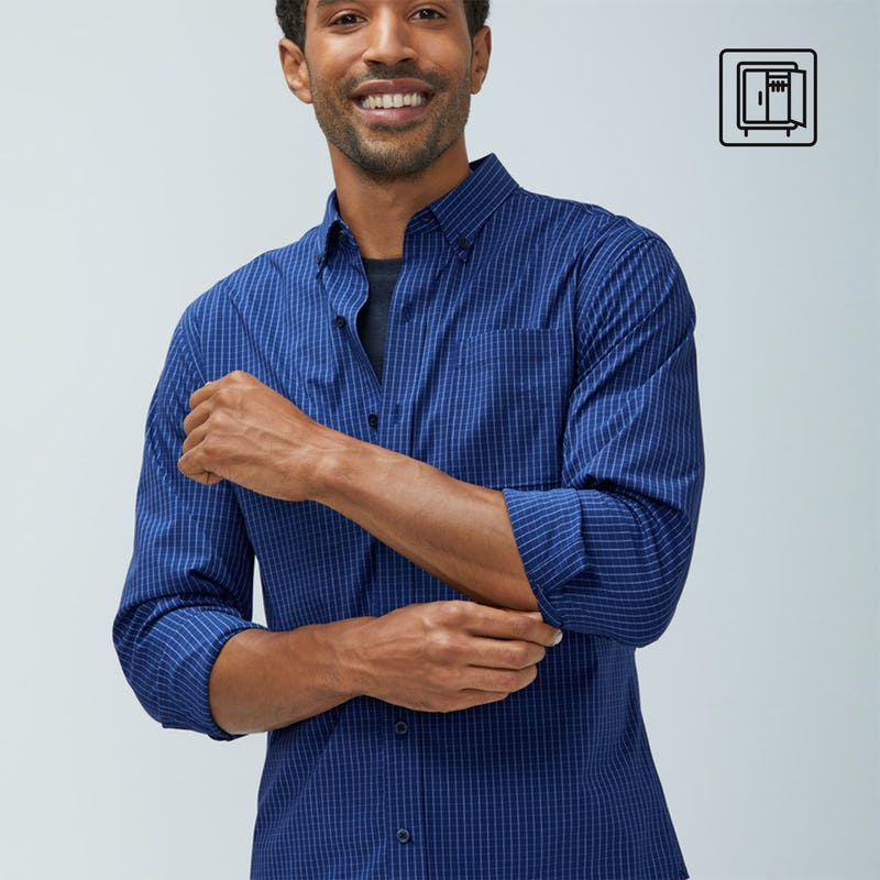 Man wearing blue check Aero Button Down shirt