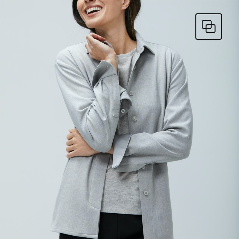 Woman wearing grey fusion overshirt