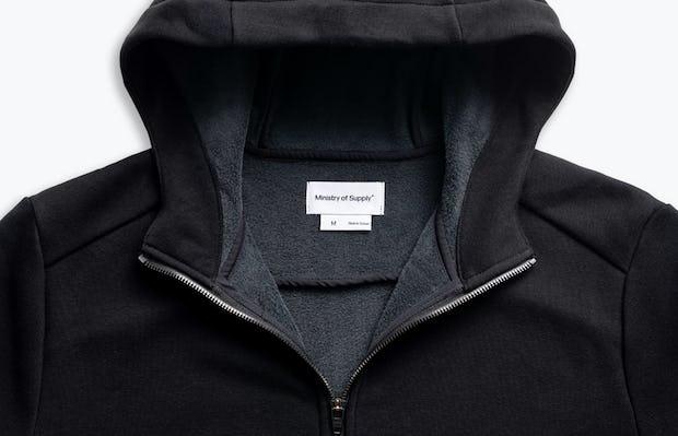 men's black hybrid full zip hoodie zoomed shot of front hood up