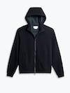 men's black hybrid full zip hoodie flat shot of front hood up