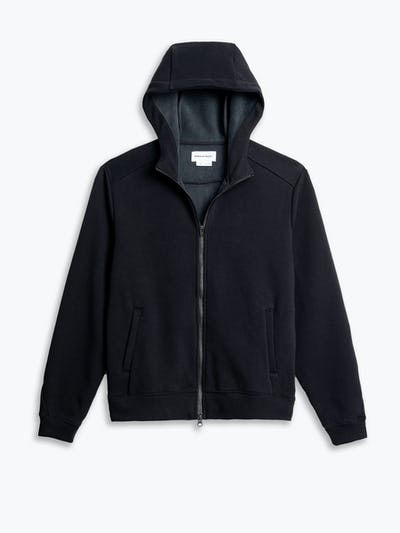 men's black hybrid full zip hoodie flat shot of front hood up