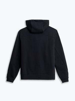 men's black hybrid full zip hoodie flat shot of back hood down