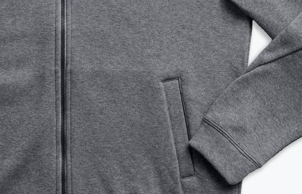 men's granite heather full zip hoodie zoomed shot of cuff, zipper and pocket