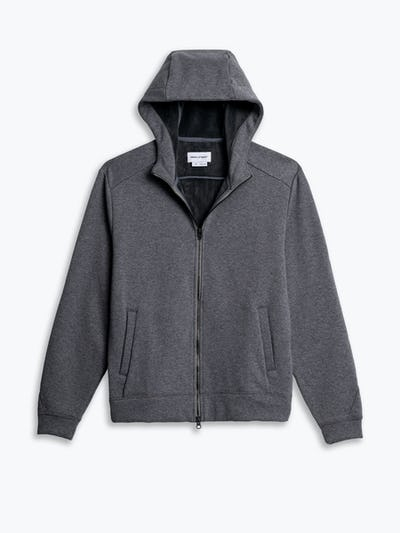 men's granite heather full zip hoodie flat shot of front hood up